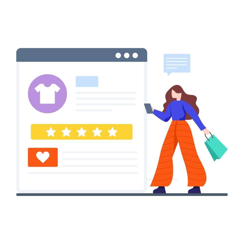 concept de rétroaction d'achat en ligne vecteur