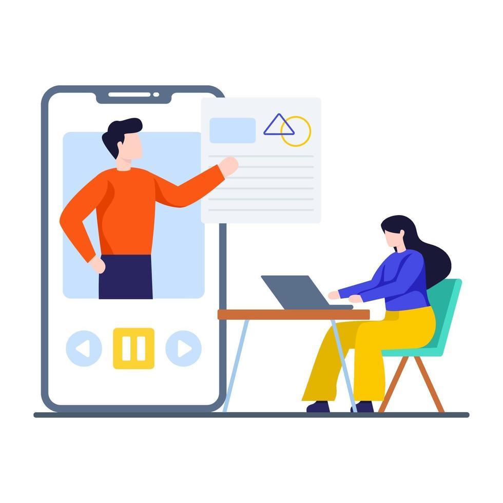 concept d'application d'enseignement en ligne vecteur