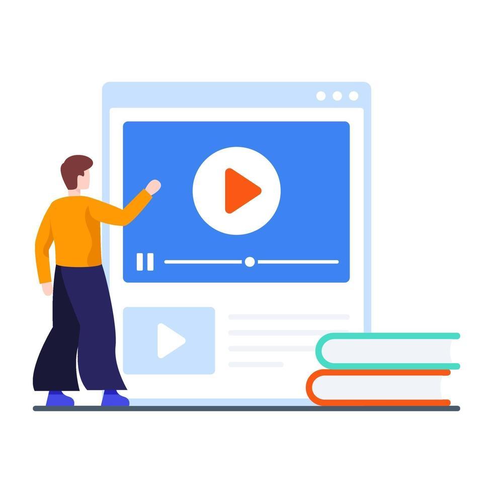 concept de didacticiels vidéo en ligne vecteur