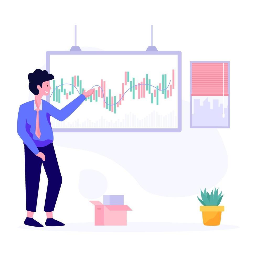concept de présentation du marché boursier vecteur