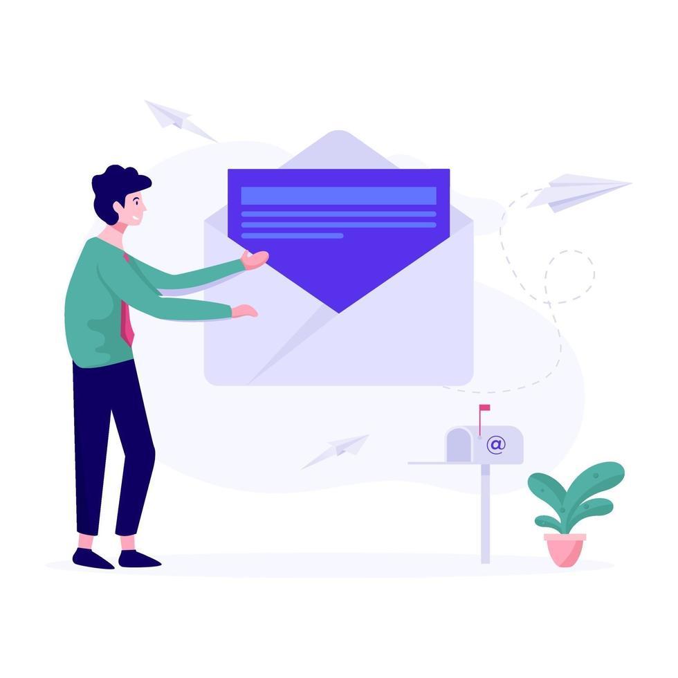 concept de campagnes de marketing par e-mail vecteur