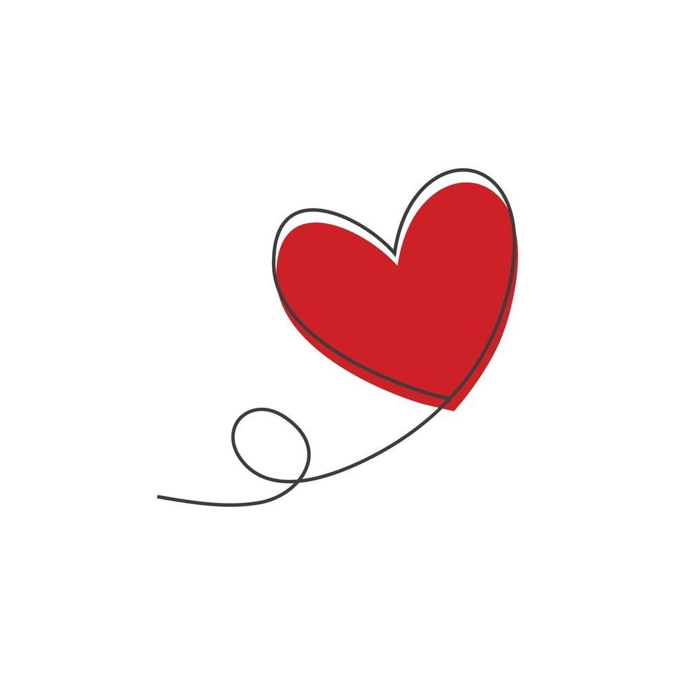 ballon en forme de coeur en lignes de dessin continues et coeur rouge dans un style plat en lignes de dessin continues. vecteur