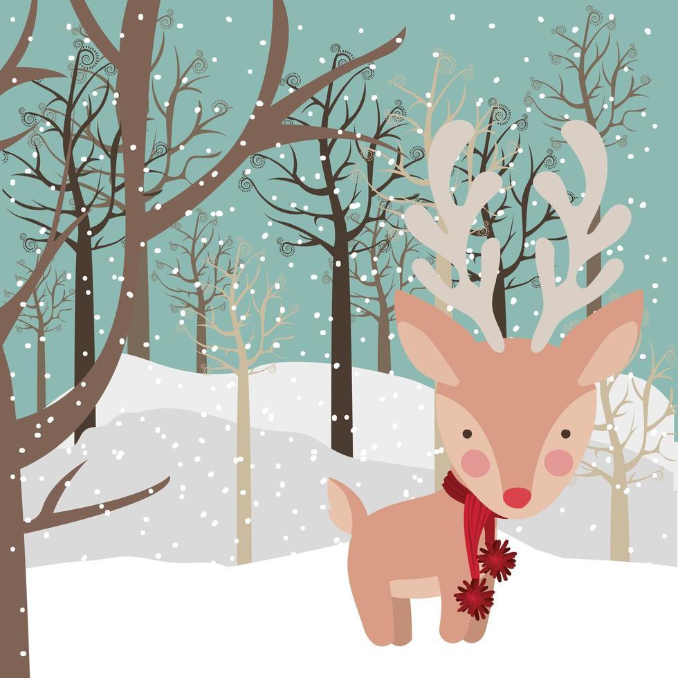 joyeux noël carte avec renne vecteur