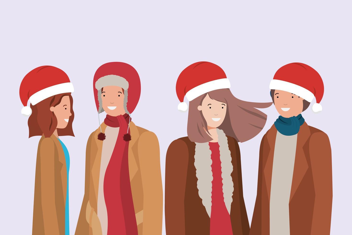 jeunes couples avec des personnages de vêtements d'hiver vecteur