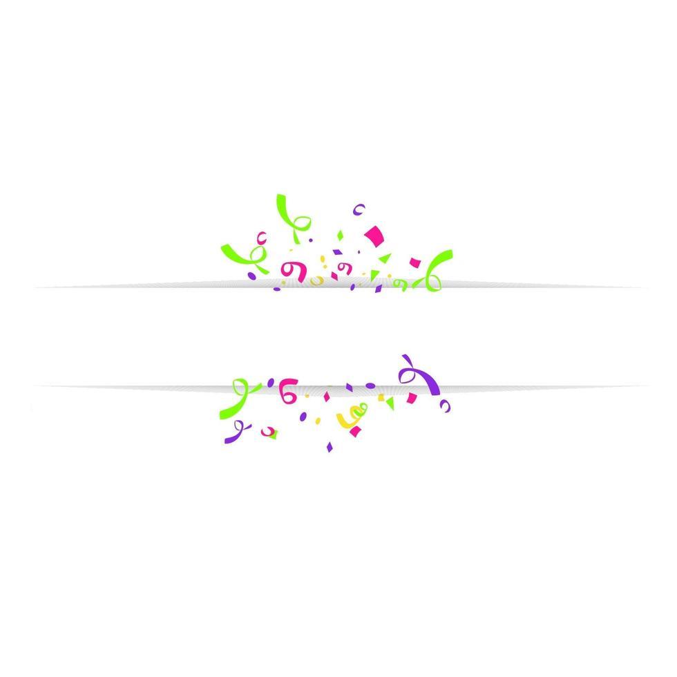 bannière vierge avec des confettis de couleur isolé sur fond blanc. fond festif de vecteur. concept de joyeux anniversaire vecteur