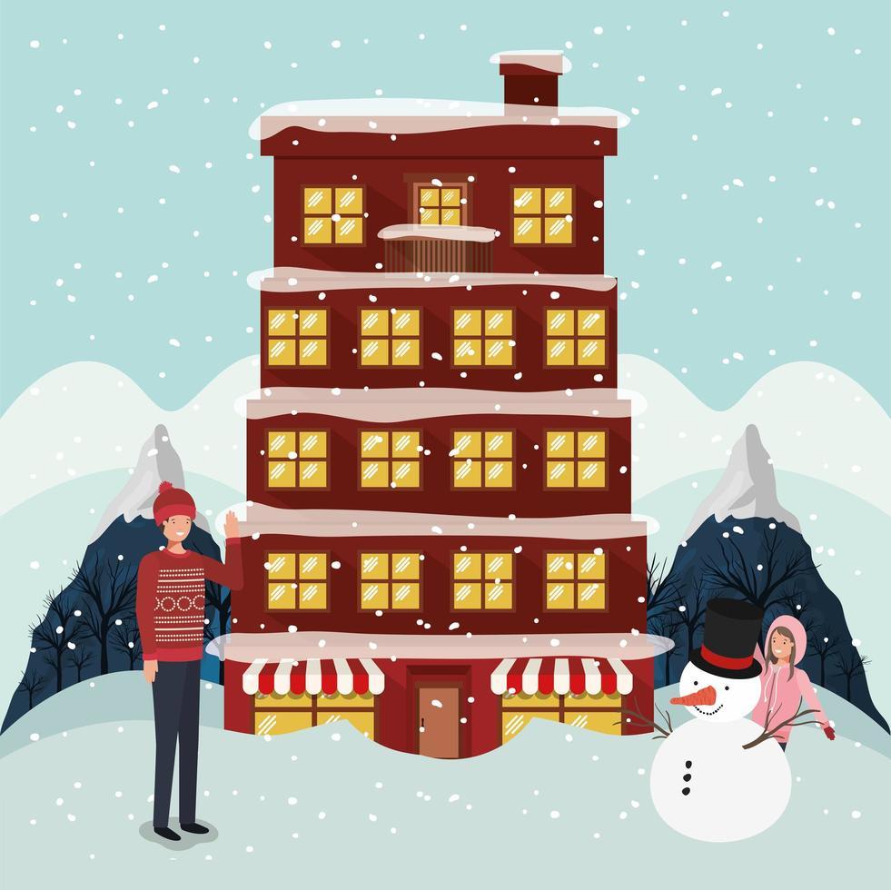 couple célébrant noël et bâtiment et bonhomme de neige vecteur
