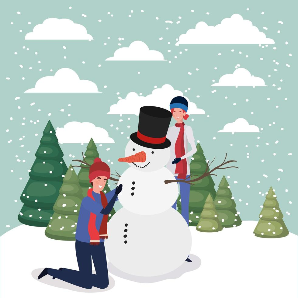 couple célébrant noël avec bonhomme de neige vecteur