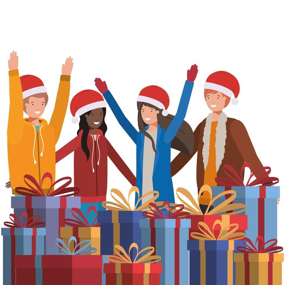 personnes célébrant Noël vecteur