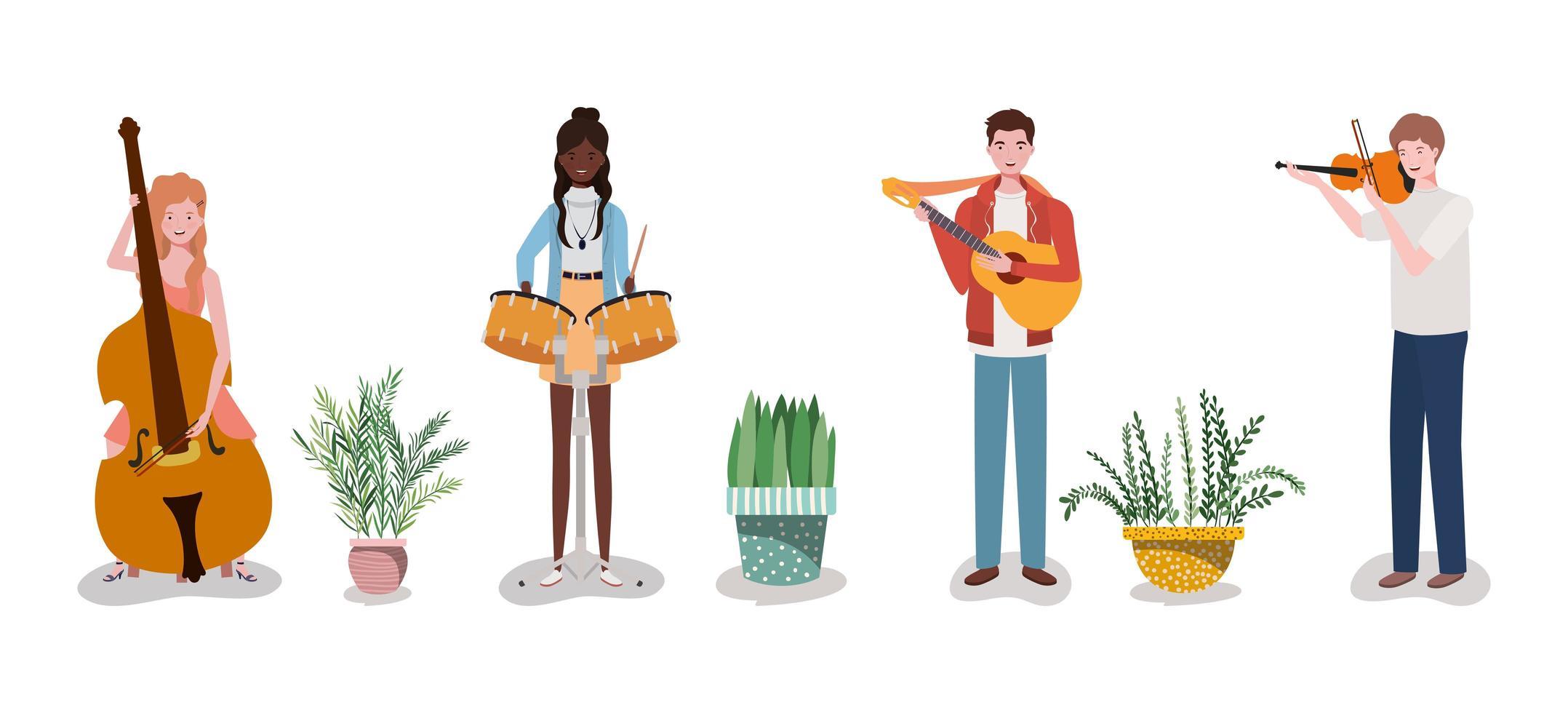 Groupe de musique de groupe jouant des instruments et des plantes d'intérieur vecteur