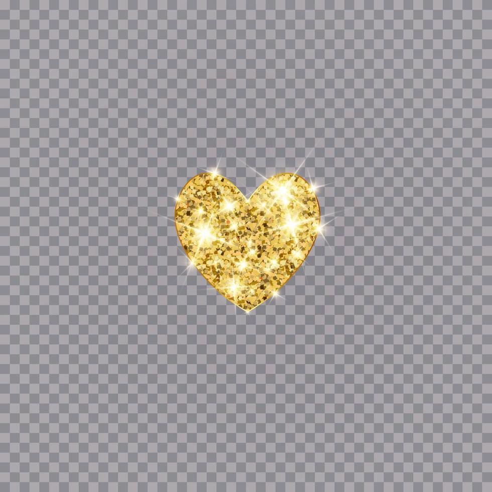 coeur de vecteur de paillettes d'or. or scintillant st. carte de Saint Valentin. élément de design de luxe.