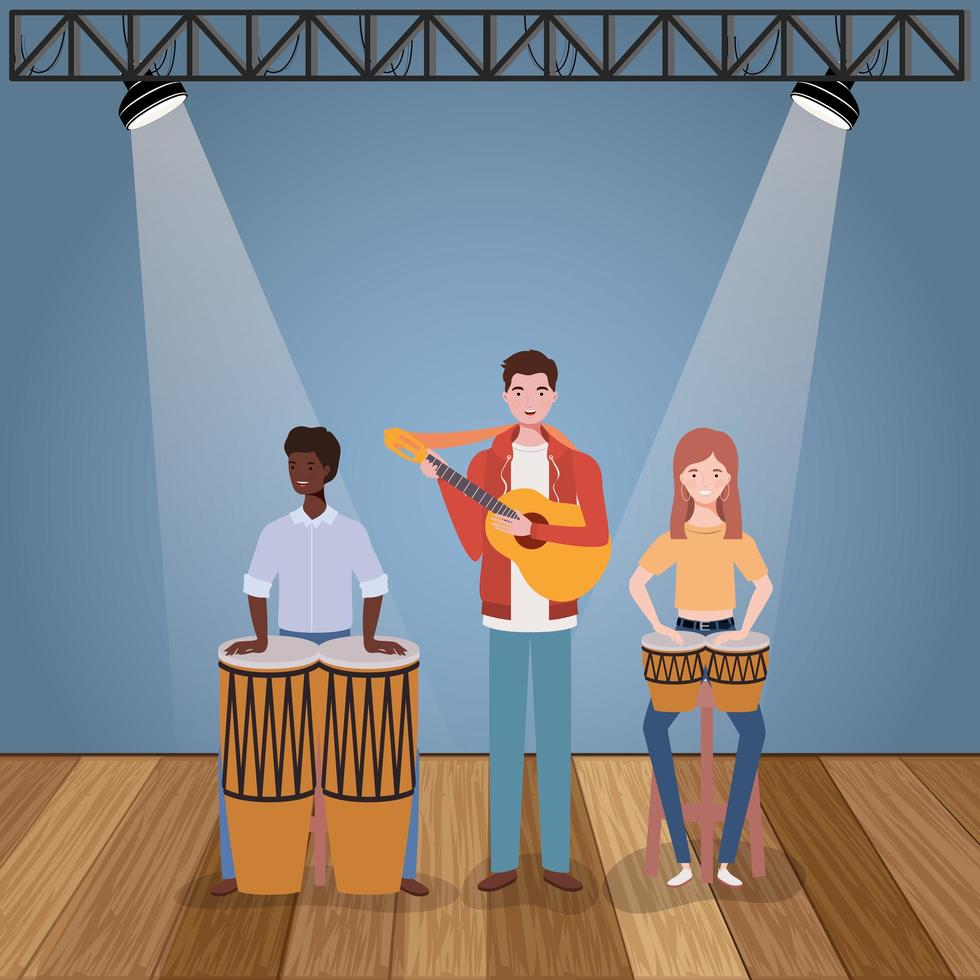 Groupe de personnes interraciales jouant de la musique dans un groupe vecteur