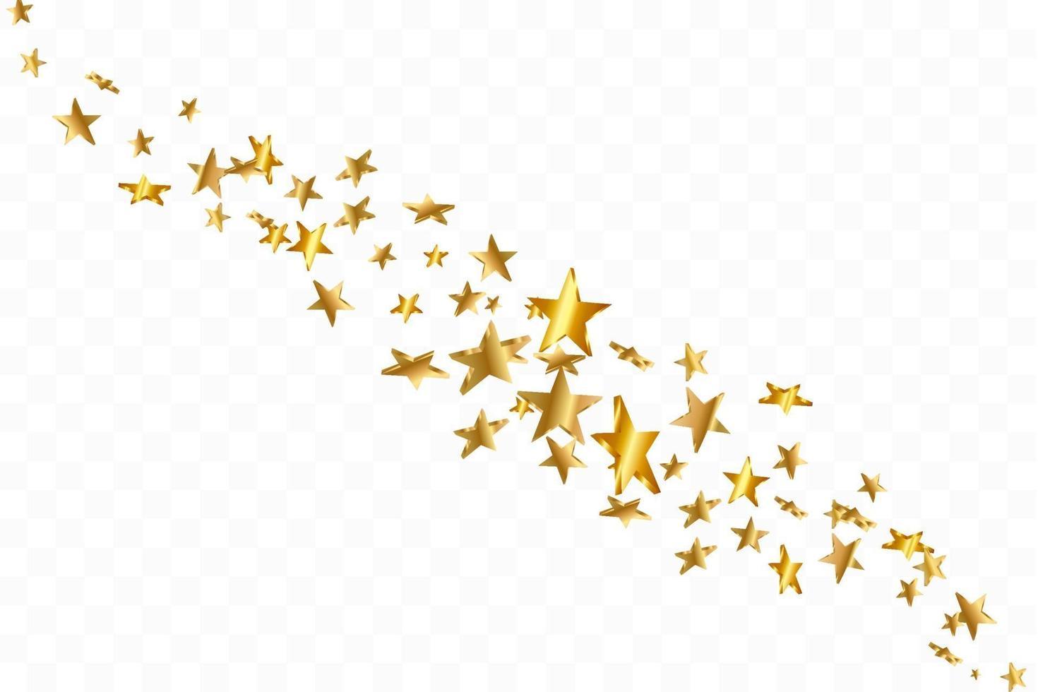 Étoile 3D tombant. or jaune étoilé sur fond transparent. fond d'étoile de confettis de vecteur. carte dorée étoilée. confettis tombent décor chaotique. vecteur
