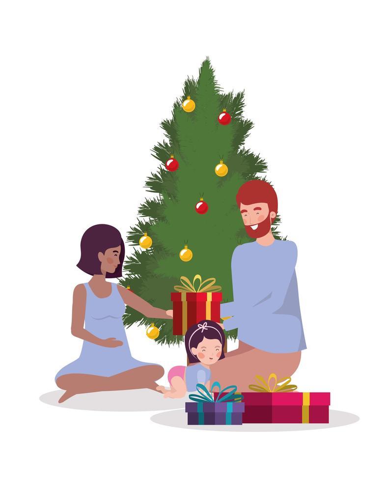 famille interraciale célébrant Noël à la maison vecteur
