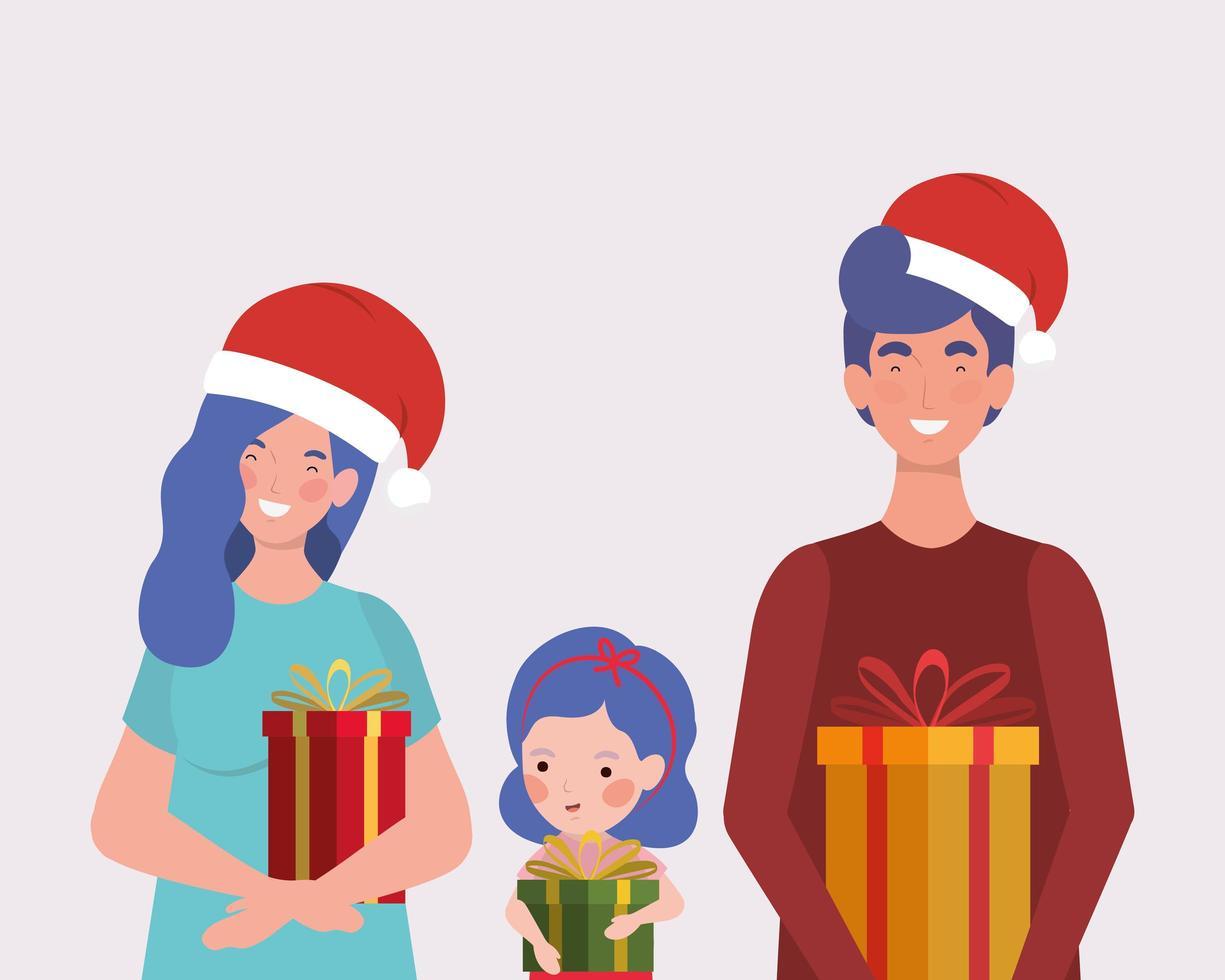 famille avec des cadeaux de noël et bonnet de noel vecteur