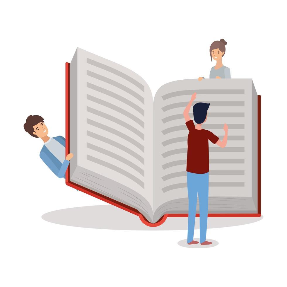 groupe d & # 39; étudiants lisant des livres vecteur