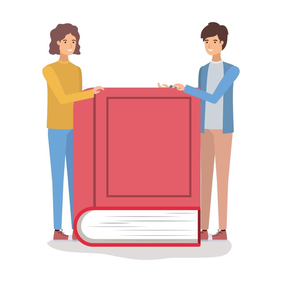 couple d & # 39; étudiants lisant des livres vecteur