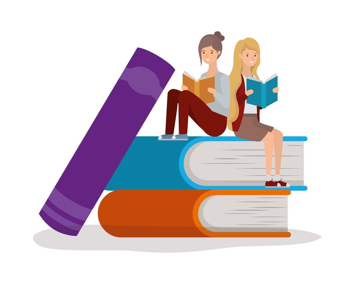 jeunes femmes lisant des livres vecteur