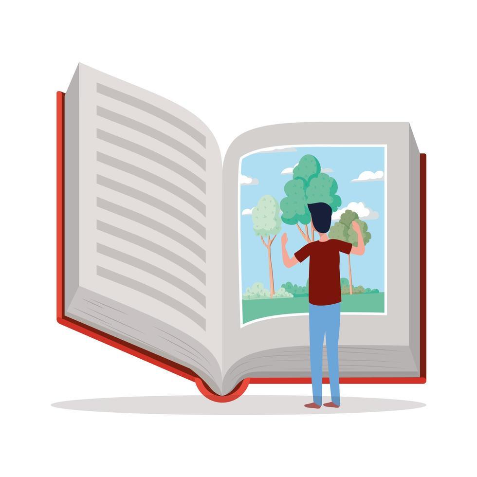jeune homme lisant un livre vecteur