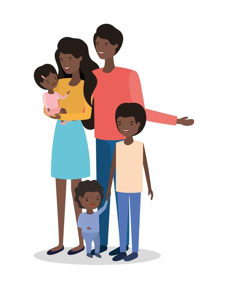Personnages de membres de la famille afro mignons vecteur