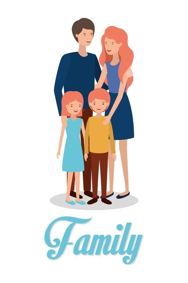 personnages de membres de la famille mignons et heureux vecteur