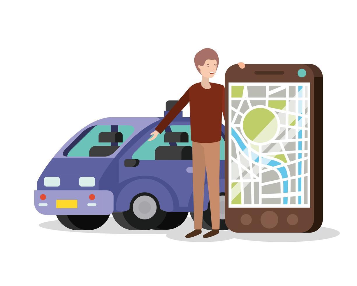 jeune homme avec application smartphone et gps vecteur
