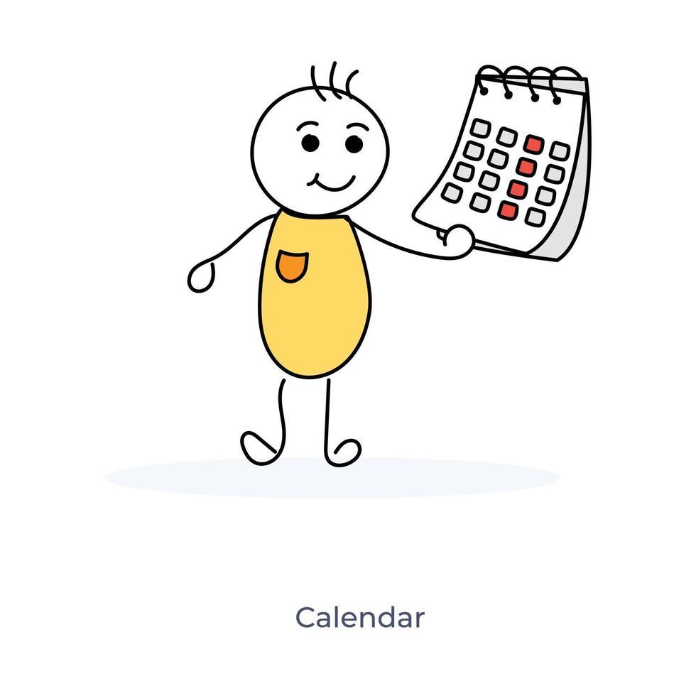 calendrier de tenue de personnage de dessin animé vecteur