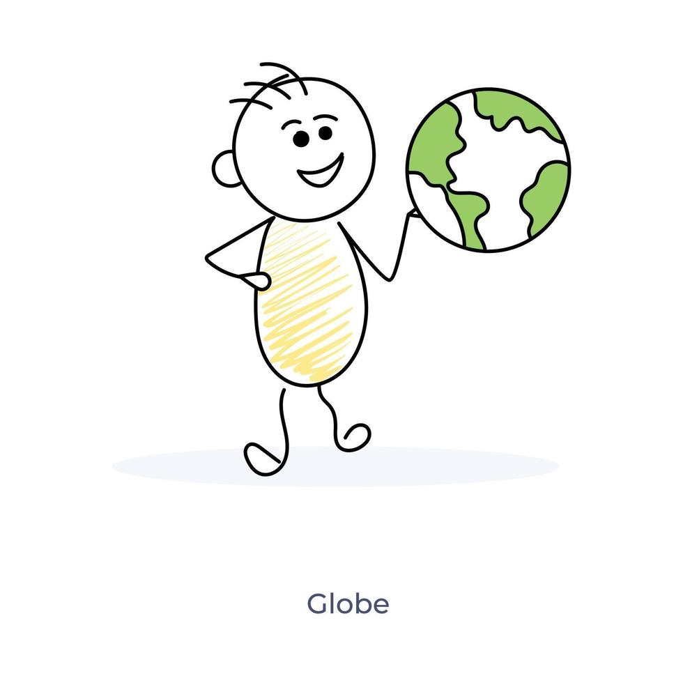 dessin animé, garçon, à, globe terrestre vecteur