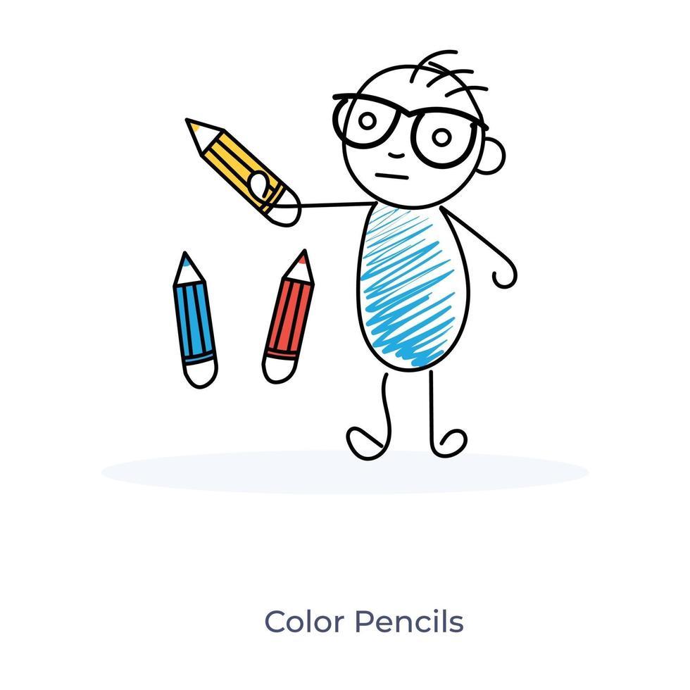 dessin animé garçon et crayons de couleur vecteur