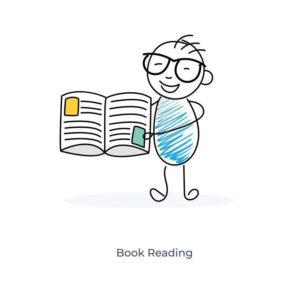lecture de livre de personnage de dessin animé vecteur
