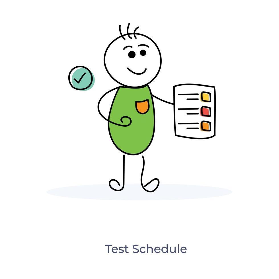 étudiant en dessin animé avec calendrier de test vecteur