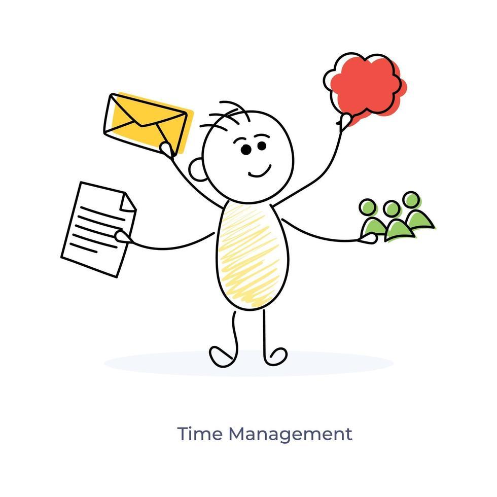 gestion du temps des personnages de dessins animés vecteur