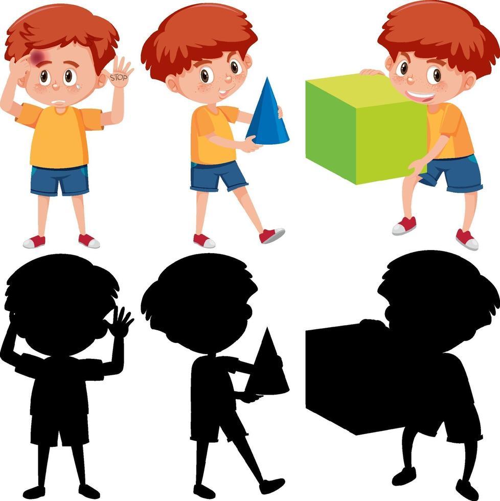 ensemble, de, a, garçon, tenue, différent, outils mathématiques, à, silhouette vecteur