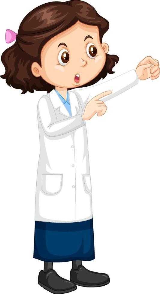 personnage de dessin animé de jolie fille portant une blouse de laboratoire scientifique vecteur