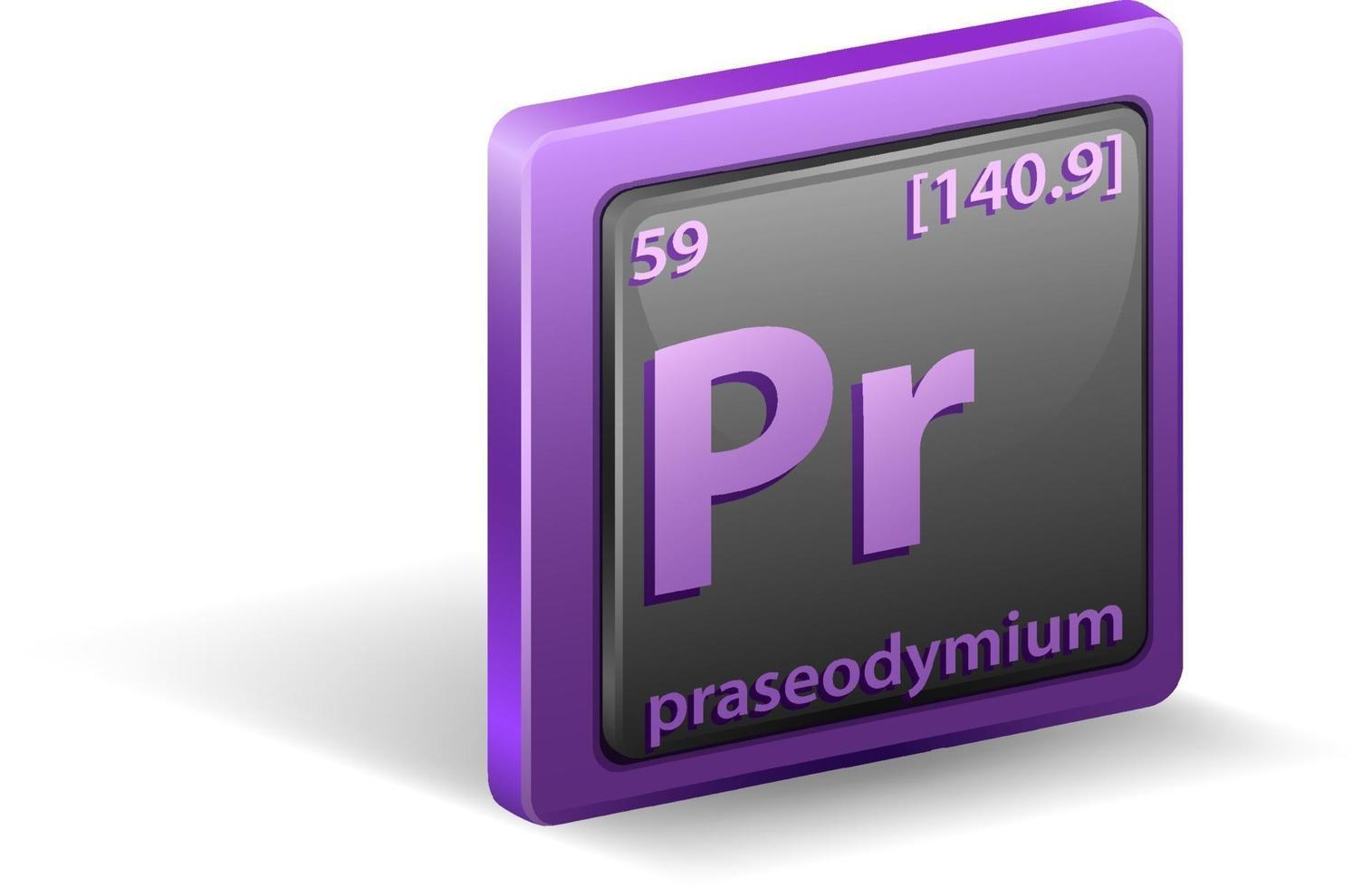 élément chimique praséodyme. symbole chimique avec numéro atomique et masse atomique. vecteur
