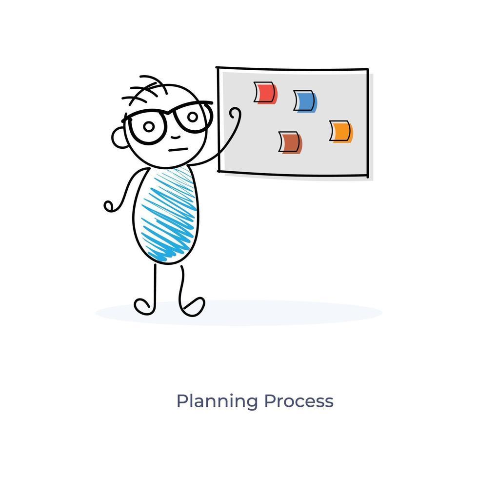 processus de planification de dessin animé vecteur