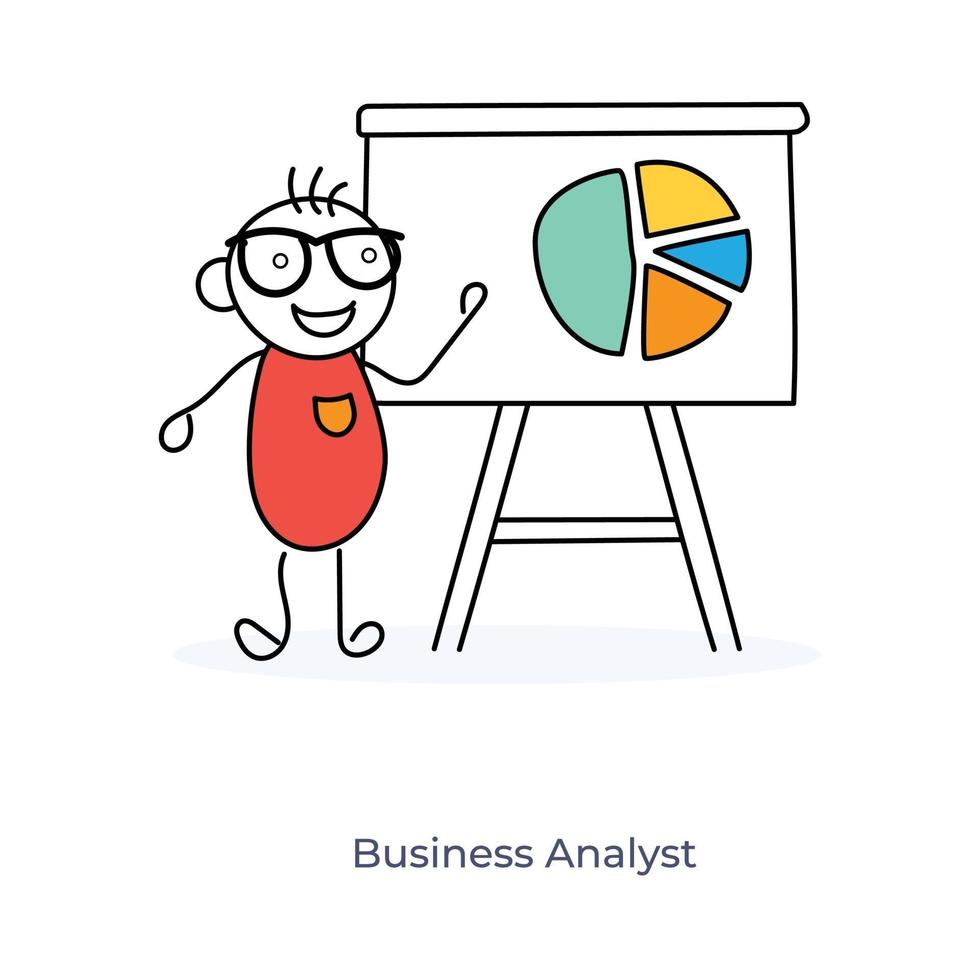 analyste d'affaires de dessin animé vecteur