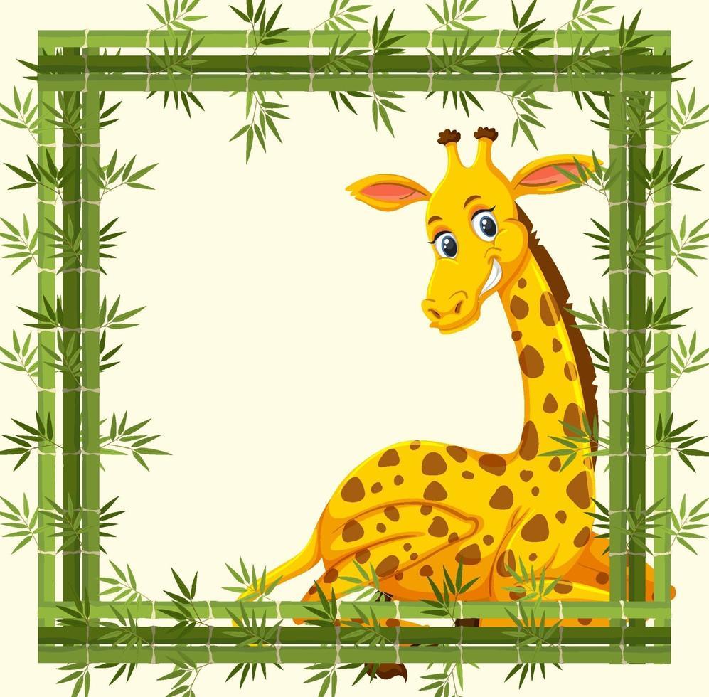 bannière vide avec cadre en bambou et personnage de dessin animé girafe vecteur