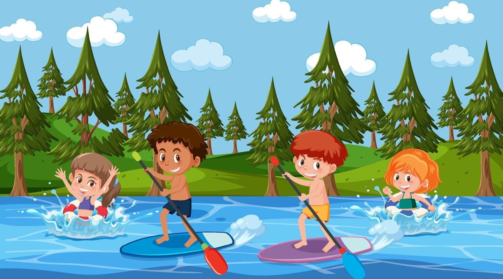scène de forêt avec des enfants sur une planche de surf dans la rivière vecteur