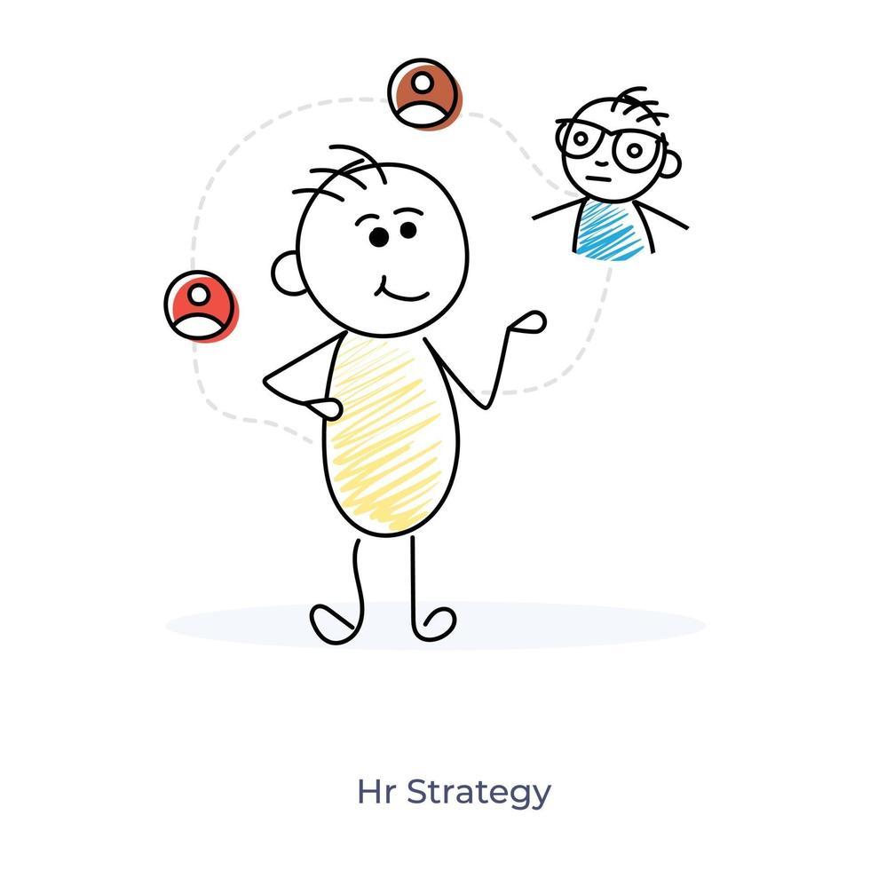 personnage de dessin animé et stratégie RH vecteur