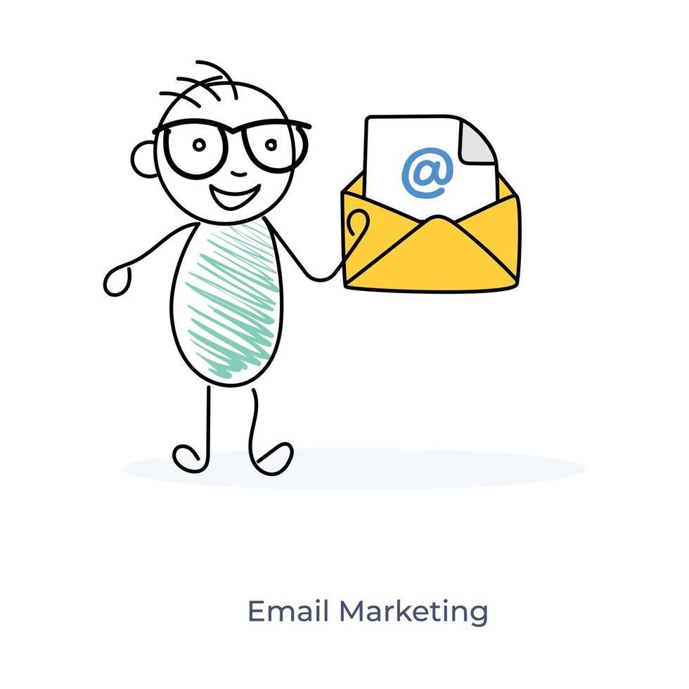 personnage de dessin animé de marketing par courrier électronique vecteur