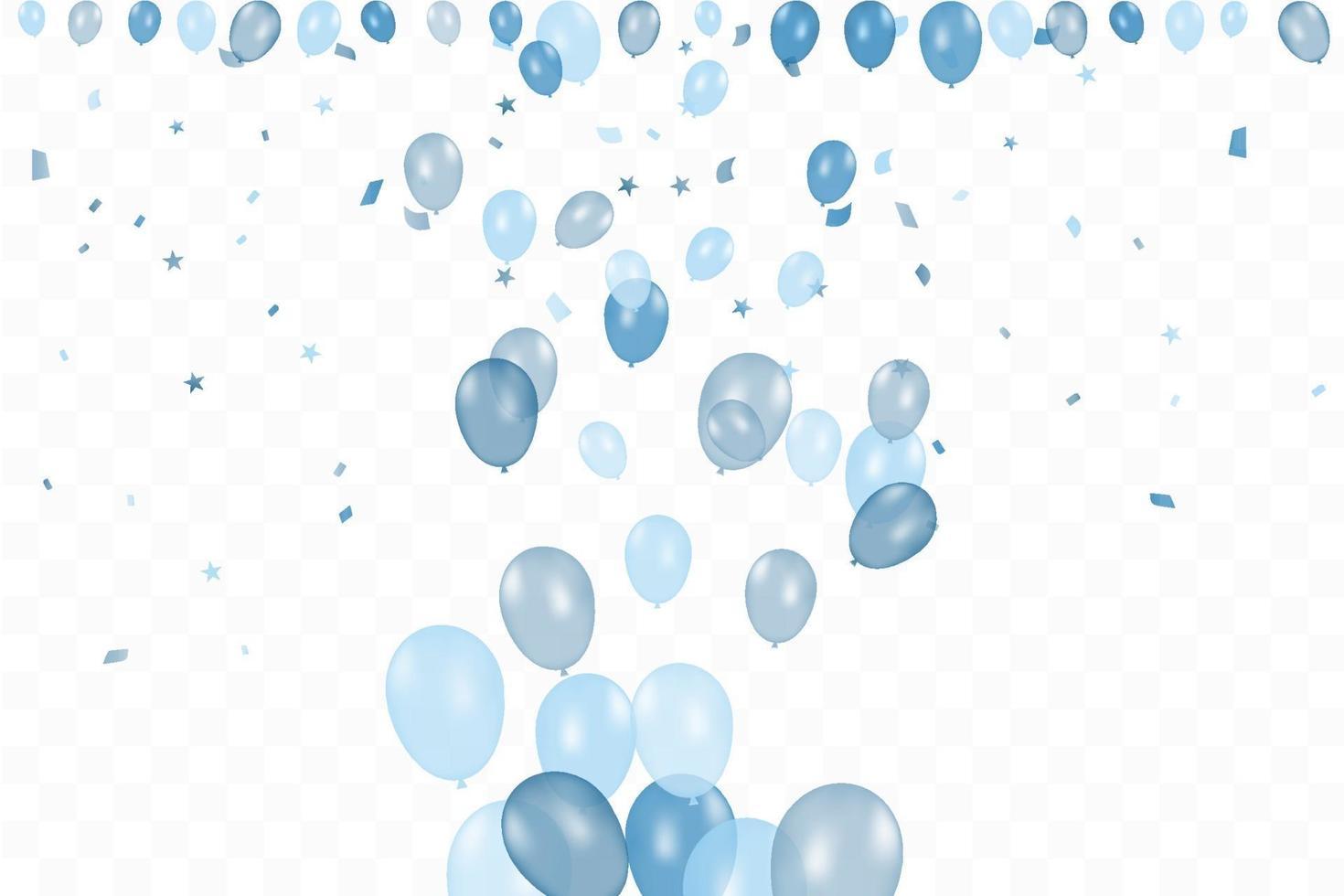 l'anniversaire du garçon. fond de joyeux anniversaire avec des ballons bleus et des confettis. fête de l'événement de célébration. vecteur
