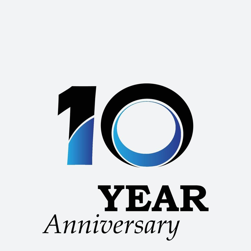 10 ans anniversaire célébration illustration de conception de modèle de vecteur de couleur bleue
