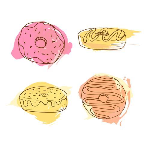 Illustration vectorielle de beignet. Ensemble de 4 beignets dessinés à la main avec des éclaboussures aquarelles colorées. Collection de pâtisseries douces. vecteur
