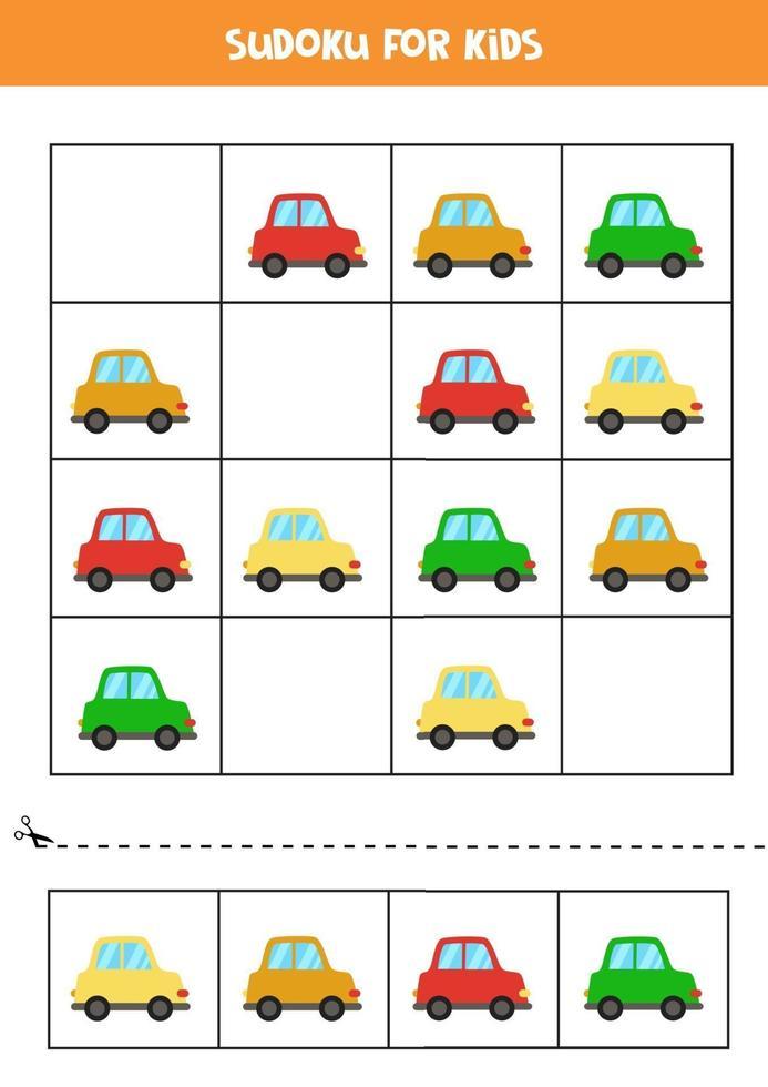 jeu de sudoku pour enfants avec des voitures colorées de dessin animé vecteur