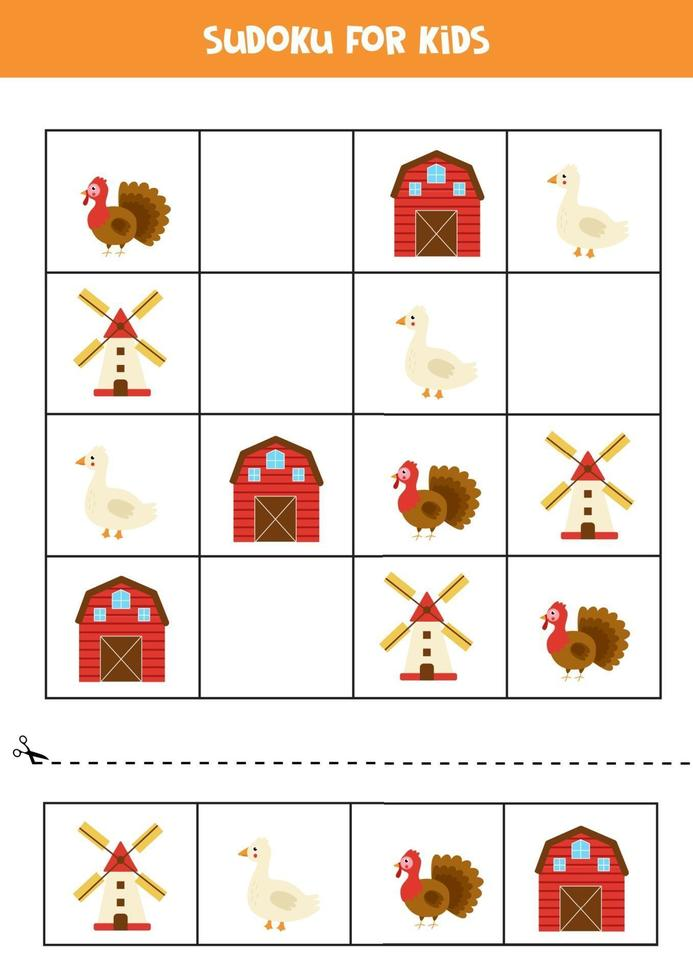jeu de sudoku avec ferme de dessin animé, moulin, oie et dinde vecteur