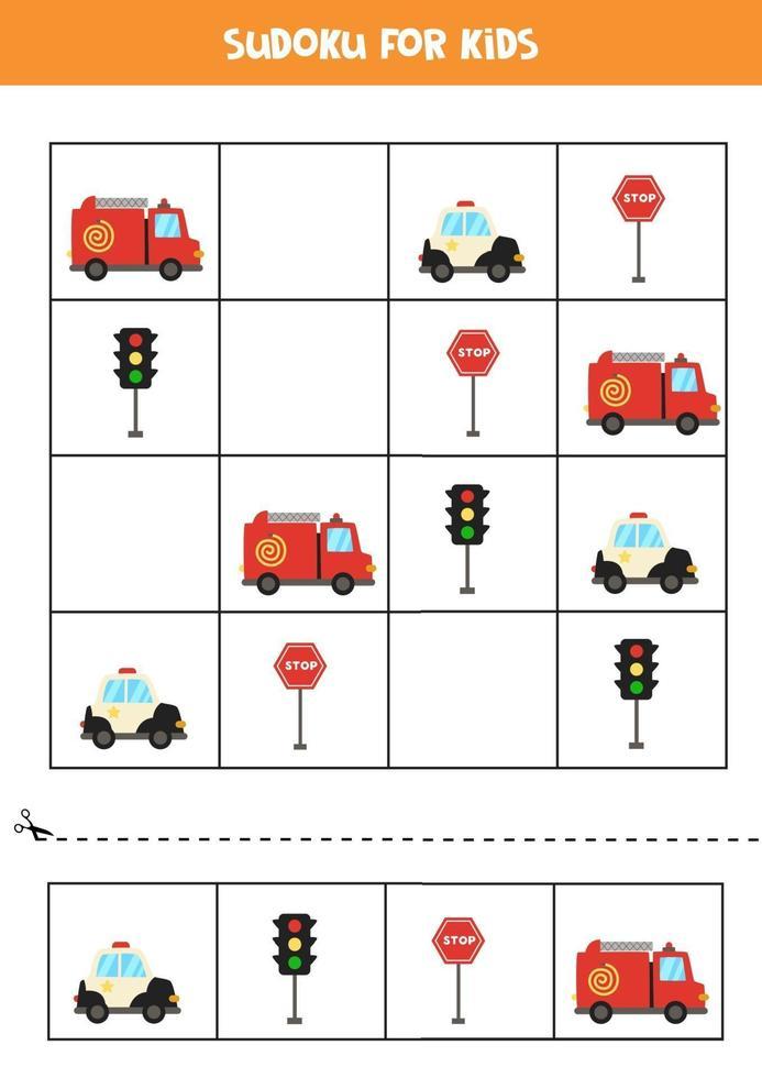 jeu de sudoku avec des moyens de transport de dessins animés vecteur