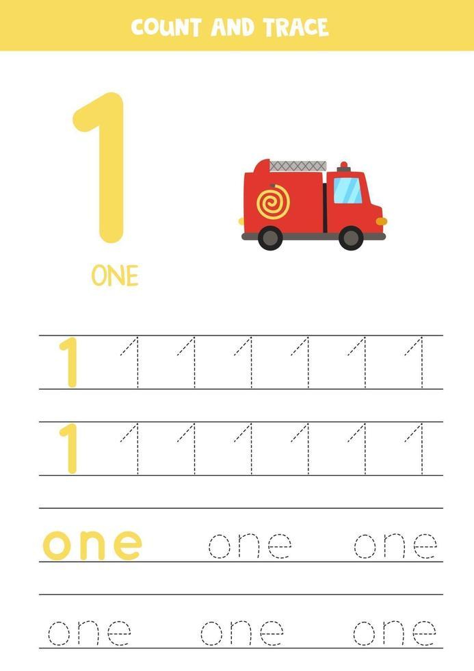 traçage de la feuille de calcul des numéros avec camion de pompiers de dessin animé. vecteur