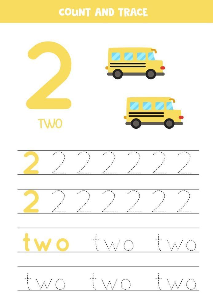 traçage de la feuille de calcul des nombres avec des bus scolaires de dessin animé. vecteur