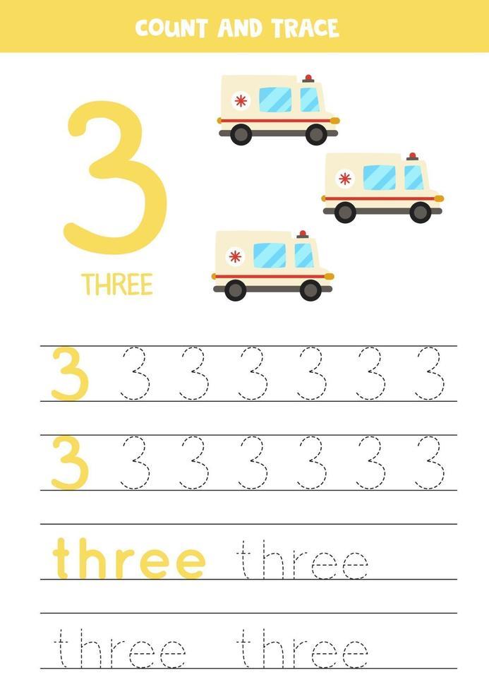 traçage de la feuille de calcul des nombres avec voiture d'ambulance de dessin animé vecteur
