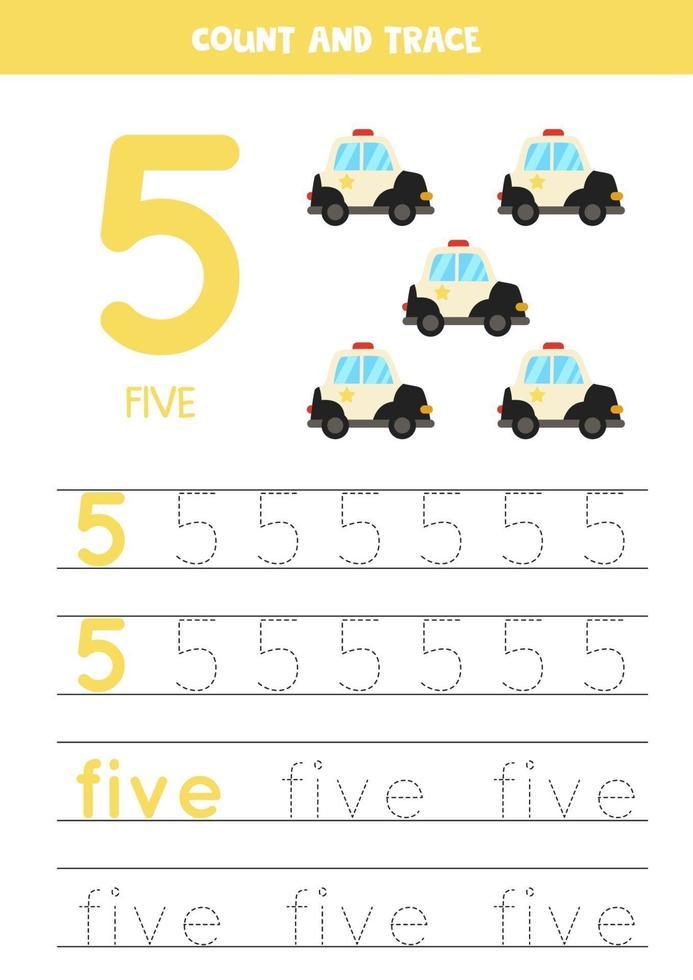 traçage des numéros de feuille de calcul avec des voitures de police de dessin animé. vecteur